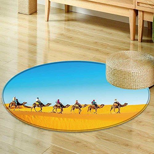 Sahara Small Rug - Small Round Rug CarpetCamel Caravan Going Through The Sand Dunes in The Sahara Desert Door mat Indoors Bathroom Mats Non Slip-Round 47