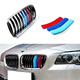 iJDMTOY Exact Fit///M-Colored Grille Insert Trims For BMW F10 F11 5 Series 528i 535i 550i with Standard Center Chrome Kidney Grill (10 Beams), Not For 12-Beam Black Grille