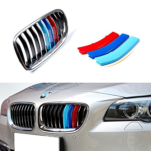 iJDMTOY Exact Fit///M-Colored Grille Insert Trims For BMW F10 F11 5 Series 528i 535i 550i with Standard Center Chrome Kidney Grill (10 Beams), Not For 12-Beam Black Grille (Grill Chrome Oem)