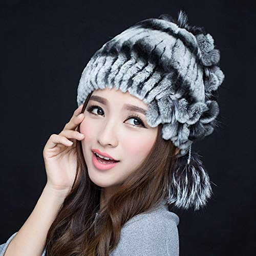 XIAOGEGE Winter New hat Female Korean Version of The Cute Fur hat Female Winter Knit hat Ladies Fur hat, 1003