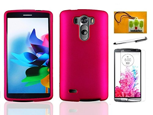 LF 4 in 1 Bundle - Pink Hard Case Cover, Stylus Pen, Screen Protector & Wiper For (Verizon, AT&T, Sprint, T-Mobile) LG G3 (Pink)