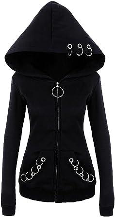 UUYUK Women Fashion Long Sleeve Cowl Neck Oblique Zipper Sweatshirt Jacket
