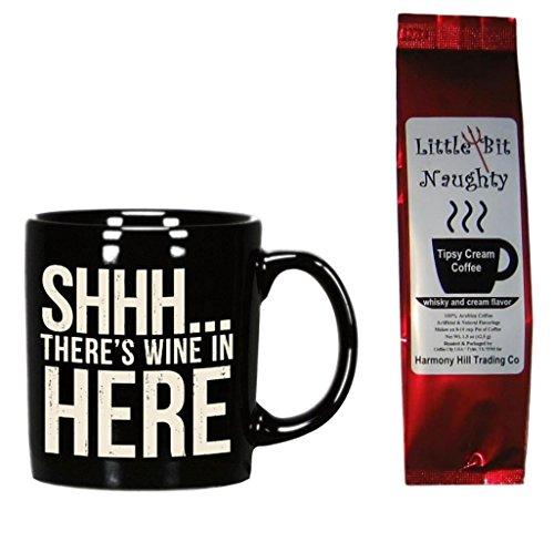 Stoneware Whiskey (Wine Coffee Mug and Coffee Gift Set - Shhh There's Wine in Here Mug and Little Bit Naughty Tipsy Cream Coffee 2 Item Bundle)