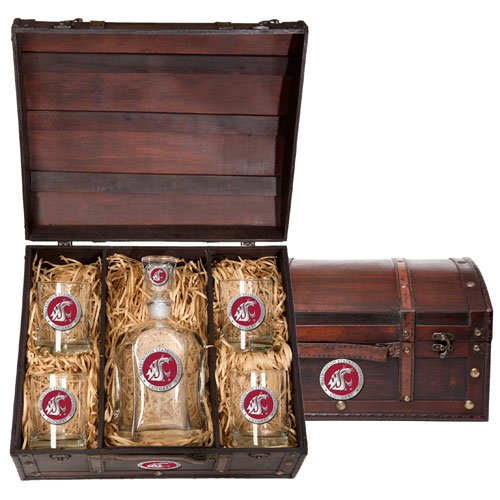 Washington State Cougars Capitol Decanter Wood Chest Set by Heritage Pewter