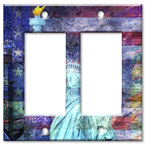 Liberty Statue Of Faceplate - Art Plates 2-Gang Rocker (Decora) OVERSIZE Switch Plate/OVER SIZE Wall Plate - Statue of Liberty with Flag Background