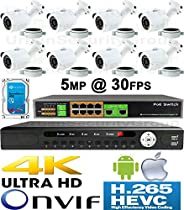 USG 5MP @ 30FPS 8 Camera Security System H.265 Ultra 4K PoE IP CCTV Kit : 8x 5MP 3.6mm Bullet Camera + 1x 36 Channel 8MP NVR + 1x 10 Port PoE Network Switch + 1x 4TB HDD : Phone App : Business Grade