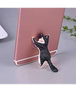 Leoie Cute Cartoon Cat Phone Holder Car Mount Sucker Bracket Universal for Sumsung Huawei LG iPhone X XS 8 7 6 Black