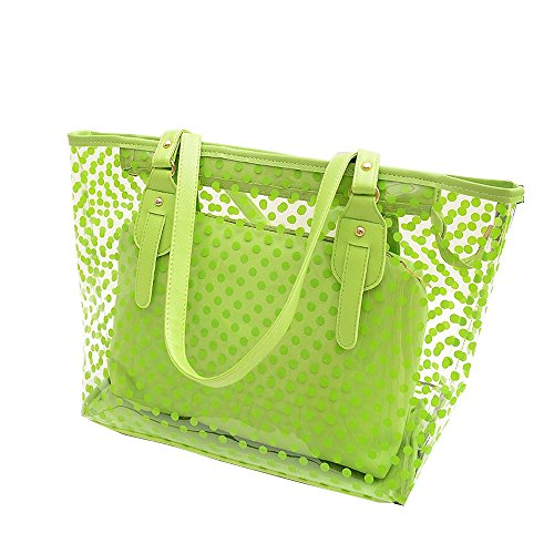 Sling Bag Beach Tote Handbags - Manka Vesa Women's 2 in 1 Dots Clear Handbag Purse Tote Beach Shoulder Sling Bag Light Green