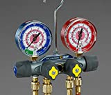 Yellow Jacket 49935 Titan 4-Valve Test and Charging Manifold degrees F, psi Scale, R-134A/404A/407C Refrigerant, Red/Blue Gauges
