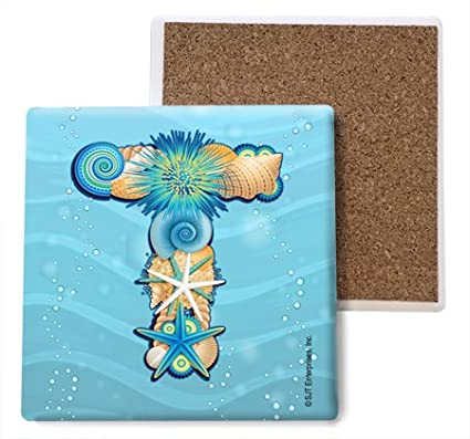4-Pack SJT96855 Initial//Letter Beach Themed Coasters -T Absorbent Stone Coasters 4-inch SJT ENTERPRISES INC