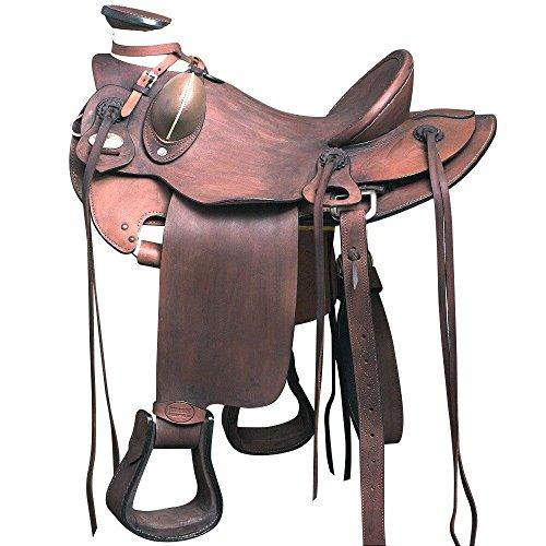 HILASON WD085OLSTNWALBK 15'' BIG KING SERIES WESTERN WADE RANCH ROPING COWBOY HORSE SADDLE by HILASON