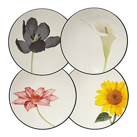 Noritake Colorwave Floral Appetizer Plates in Graphite (Set of 4) Made of durable stoneware, Microwave and dishwasher safe, Multicolored