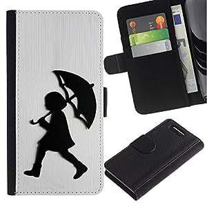 For Sony Xperia Z3 Compact Case , Girl Rain White Brushed Metal - la tarjeta de Crédito Slots PU Funda de cuero Monedero caso cubierta de piel