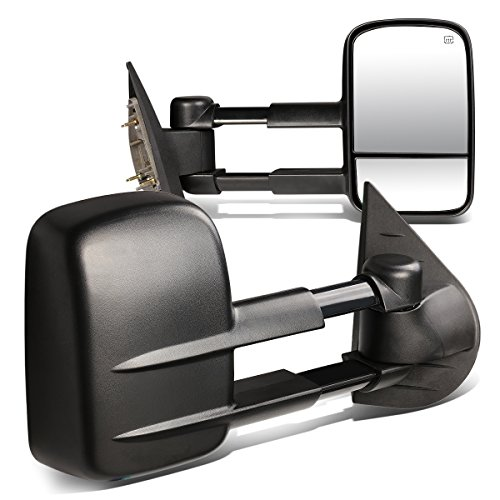 (For Chevy/GMC GMT900 Pair of Power + Heated Manual Extend Towing Side Mirror (Black))