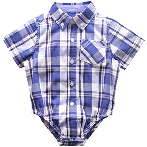 (Bebone Baby Boys Girls Plaid Triangle Cotton Shirt (Dark Blue, 0-3M))