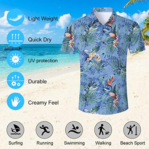 153659aba Uideazone Men Hawaiian Shirts Summer 3D Printed Short Sleeve Button Down Aloha  Shirt