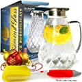 Glass Water Pitcher with Diamond Pattern and TIGHT Lid, THICKER Heat Resistant Borosilicate Glass Carafe with FREE Brush (in Christmas Ready Packaging) by Pykal