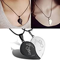 Ransopakul Couple Broken Heart Pendant Black Cord Engrave Love You Choker Necklace Fashion