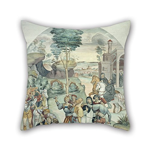 Oil Painting Johann Anton Ramboux - Saint Catherine Of Siena Rescues Two Dominicans From The Hands Of Robbers Pillow Shams 16 X 16 Inches / 40 By 40 Cm For Christmas Teens Bedroom Home Study Room