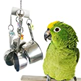 Bwogue Stainless Steel Cup Bell Toys For Birds, Heavy Duty Bird Cage Toys for Parrots African Grey Amazon Cockatoo Conure