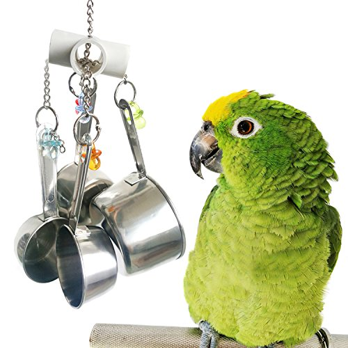 (Bwogue Stainless Steel Cup Bell Toys For Birds, Heavy Duty Bird Cage Toys for Parrots African Grey Amazon Cockatoo Conure)