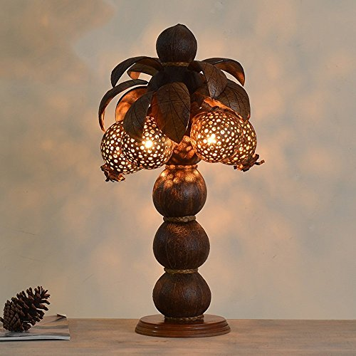 HOMEE Ideal reading light-- wooden coconut shell decoration wood art lamp southeast asia thai spa club hotel bedroom bedside table lamp (style optional) --desk and bedside lighting,A by HOMEE (Image #1)