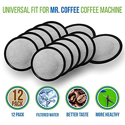 Mr. Coffee Water Filter Replacement Discs | Activated Charcoal Coffee Filters for Mr. Coffee Machines & Brewers | 12 Pack | Purifies Water Over 97% From Chlorine, Calcium, Odors & Other - These Discs
