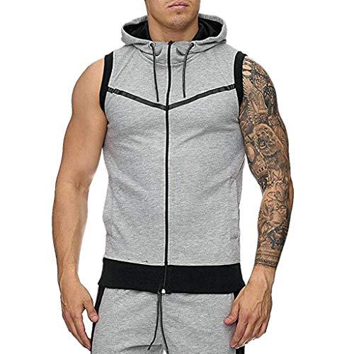 FEDULK Men's Hooded Vest Jacket Sleeveless Fitness Sport Slim Stretch Lightweight Hoodie Sweatshirt Blouse(Gray, XX-Large)