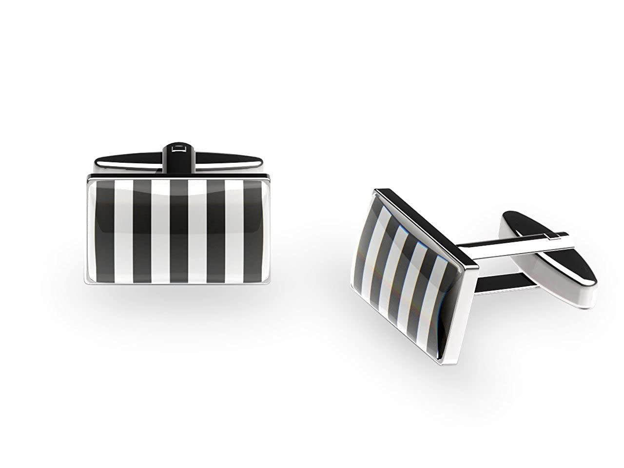 'Black & White' Stripes Cufflinks (with gift box) CNC4305