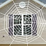 DOGS Halloween Spider Web with Spider Webs Stretchable Set, Indoor & Outdoor Spooky Cobwebs, Costume Party Decorations, White, 9 Feet