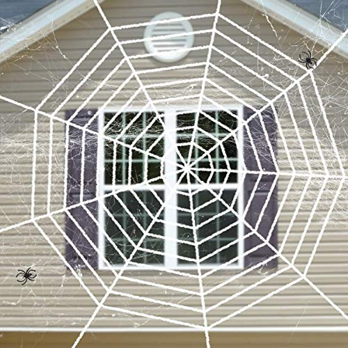 DOGS Halloween Spider Web & Spider Webs Stretchable Set, Halloween Decorations, White, 9 -