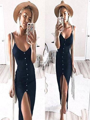 Coton De Mlange Femme lgant sans Robe Sexy Marine Cardigan Une Profond Mode Range Solides Dress Bohme T Chic Manches V Slim Bouton Simple Plage qZqTaw