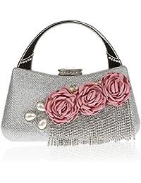 Flowered and Beaded Tassels Handbags Wedding Clutch Purse Evening Bags Dinner Bags for Women
