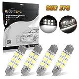 Partsam 44mm Festoon LED Light Bulbs Cap Lamps Car Interior Dome Map Reading Lights 561 562 564 570 571 577 578 211-2 212-2 214-2 Bulbs - White 4Pcs