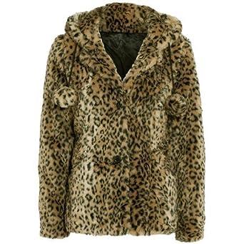 b52f262fa7e42 Womens Leopard Print Faux Fur Coat  Amazon.co.uk  Clothing