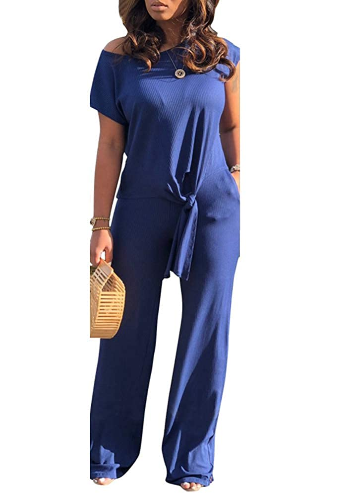 bluee Ophestin Women Casual Ribbed 2 Piece Outfits Jumpsuits Short Sleeve Tie Front Top + Pockets Wide Leg Long Pants Set
