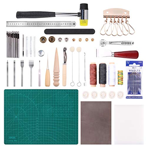 (44 PCs Leathercraft Basic Tools Kit Leather Punch Hand Sewing Tool Set Groover Stitching Kits Needle Knife Line Rivet Aw)