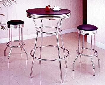 Elegant Amazon.com: 3 Piece Chrome Retro Style Bar Table Set   Table And 2 Stools:  Kitchen U0026 Dining