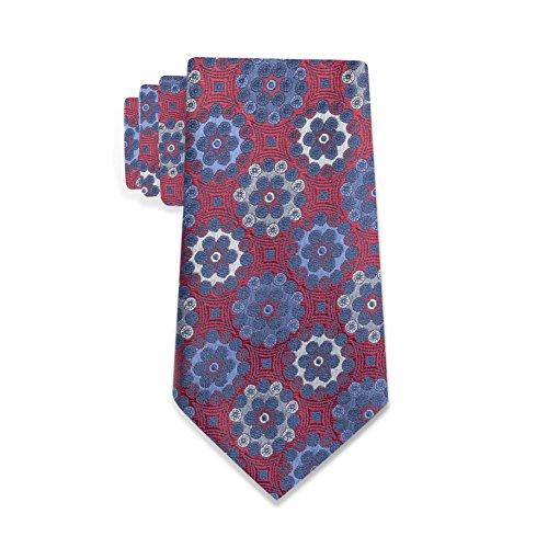 Countess Mara 100% Silk Salerno Medallion Pattern Men's Tie – Made In Italy (Red) (Countess Mara Woven Tie)
