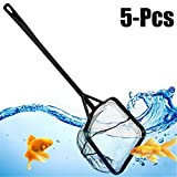 Legendog 5PCS Fish Net Aquarium Net Nylon Heavy Duty Long Handle Fine Mesh Fish Tank Net