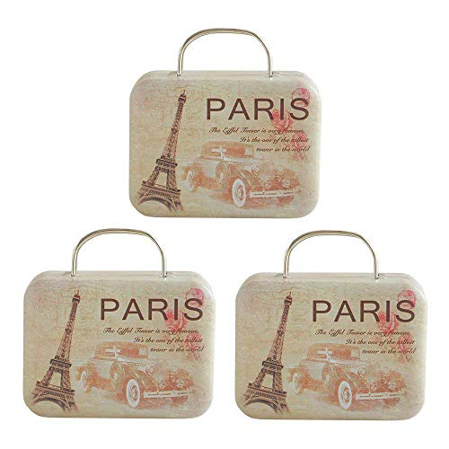 Boxes Chocolate Box Case Iron Tin Containers Vintage Jewelry Coin Storage Mini Suitcase Handbag Box with Handle for Event Decorations Wedding Party Favor(3Pack) (Beige) ()