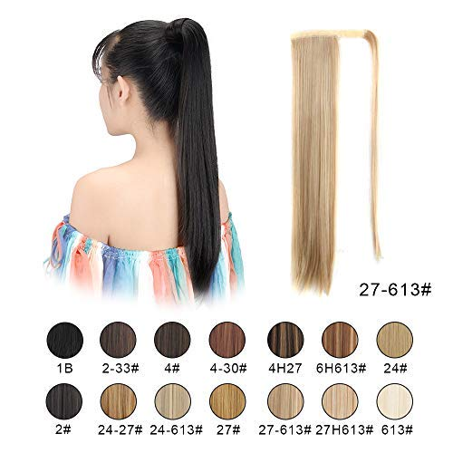 "BARSDAR 26"" Long Straight Ponytail Extension Wrap Around Synthetic Ponytail Clip in Hair Extensions One Piece Hairpiece Binding Pony Tail Extension for Women (27/613#Strawberry Blonde mix Bleach Blond"