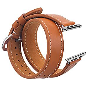 V-MORO 42mm Double Tour Leather Band with Metal Clasp for Apple iWatch - Brown