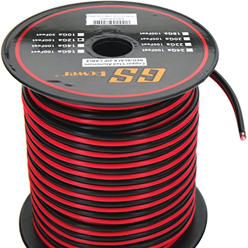 GS Power 12 Ga Gauge 100 Feet CCA Copper Clad Aluminum Red/Black 2 Conductor Bonded Zip Cord Speaker Cable for Car Audio, Home Theater, LED Light, Model Train, Amplifier, Trailer Harness Wiring ()