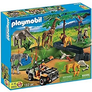 playmobil animaux de la savane 5922 set geant safari elephant voiture lion