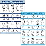 2 Pack Dumbbell Workouts and Bodyweight Exercise Poster Set - Laminated 2 Chart Set - Dumbbell Exercise Routin