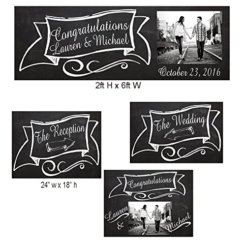 Customized Chalkboard Bride and Groom Wedding Sign, Wedding Banner, Yard Sign for Wedding, Reception Sign Party Supplies Set of 4 by Michael D Inc.