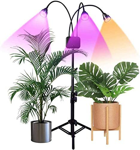 Floor Grow Lights with Stand, Full Spectrum Tri-Head Flexible Gooseneck Plant Light for Indoor Plants, Timing 3 9 12H, Tripod Adjustable 15-47 inch 3 Modes 10-Level Brightness