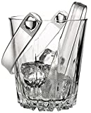 "Circleware CG Karat Glass Ice Bucket with Plastic Tongs, 5"", Double Old Fashioned Whiskey Drinking Glasses Style, For Wine, Beer, and All Beverages"