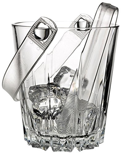"Circleware CG Karat Glass Ice Bucket with Plastic Tongs, 5"", Double Old Fashioned Whiskey Drinking Glasses Style, For Wine, Beer, and All Beverages by Circleware"